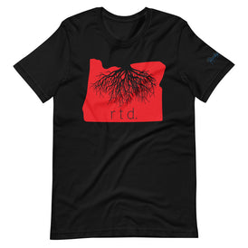 Rooted Oregon Unisex T-Shirt, Red/Black Graphic