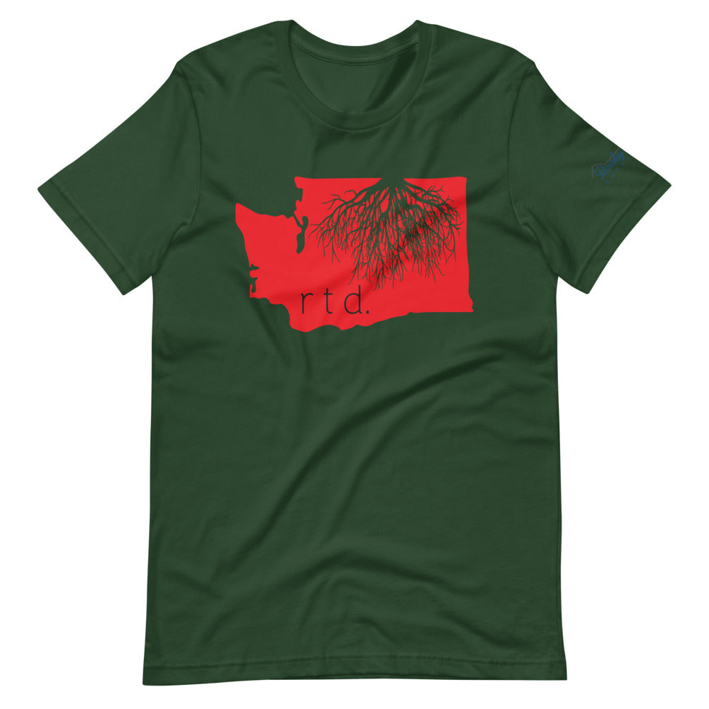 Rooted Washington Unisex T-Shirt, Red/Black Graphic