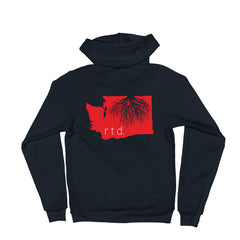 Rooted Washington Zip Up Unisex Hoodie, Red/White Graphic