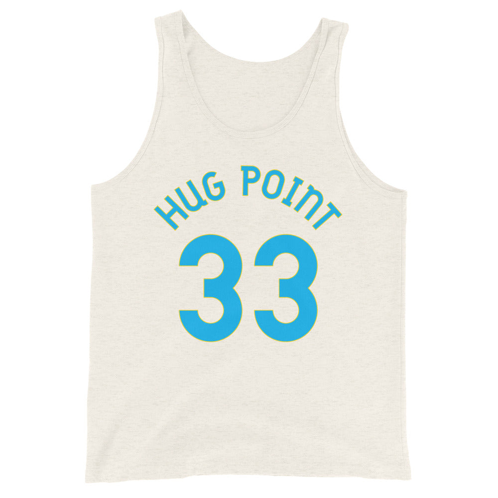 Hug Point, Oregon - Milepost Jersey Tank Top - Unisex - Blue Letters