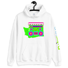Boom Box Neon Washington Pullover Unisex Hoodie