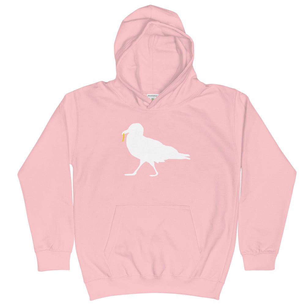 Strutting Seagull with French Fry Kid's Hoodie