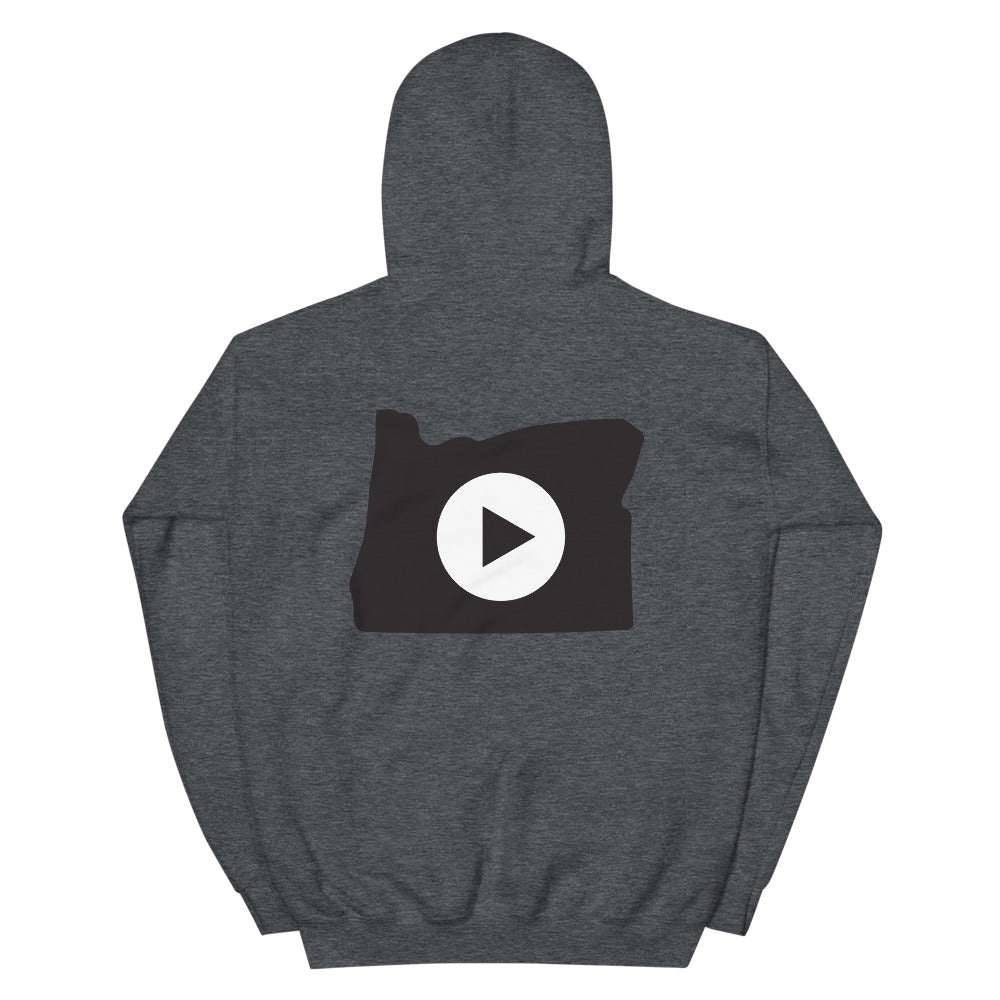 Play in Oregon Unisex Hoodie, Black Graphic on Back