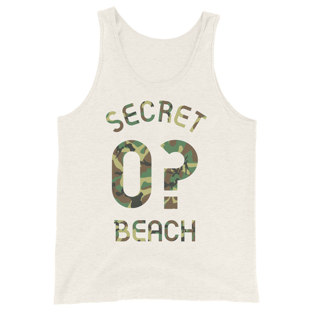Tank Top with Secret Beach and 0? printed on the front
