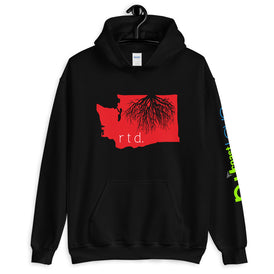 Rooted Washington Unisex Hoodie, Red-White Graphic