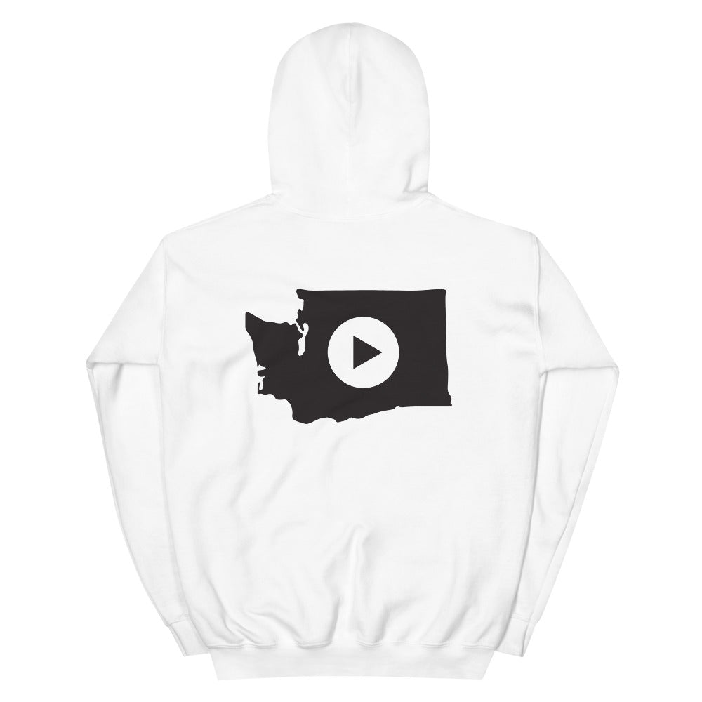 Play in Washington Unisex Hoodie, Black Graphic on Back