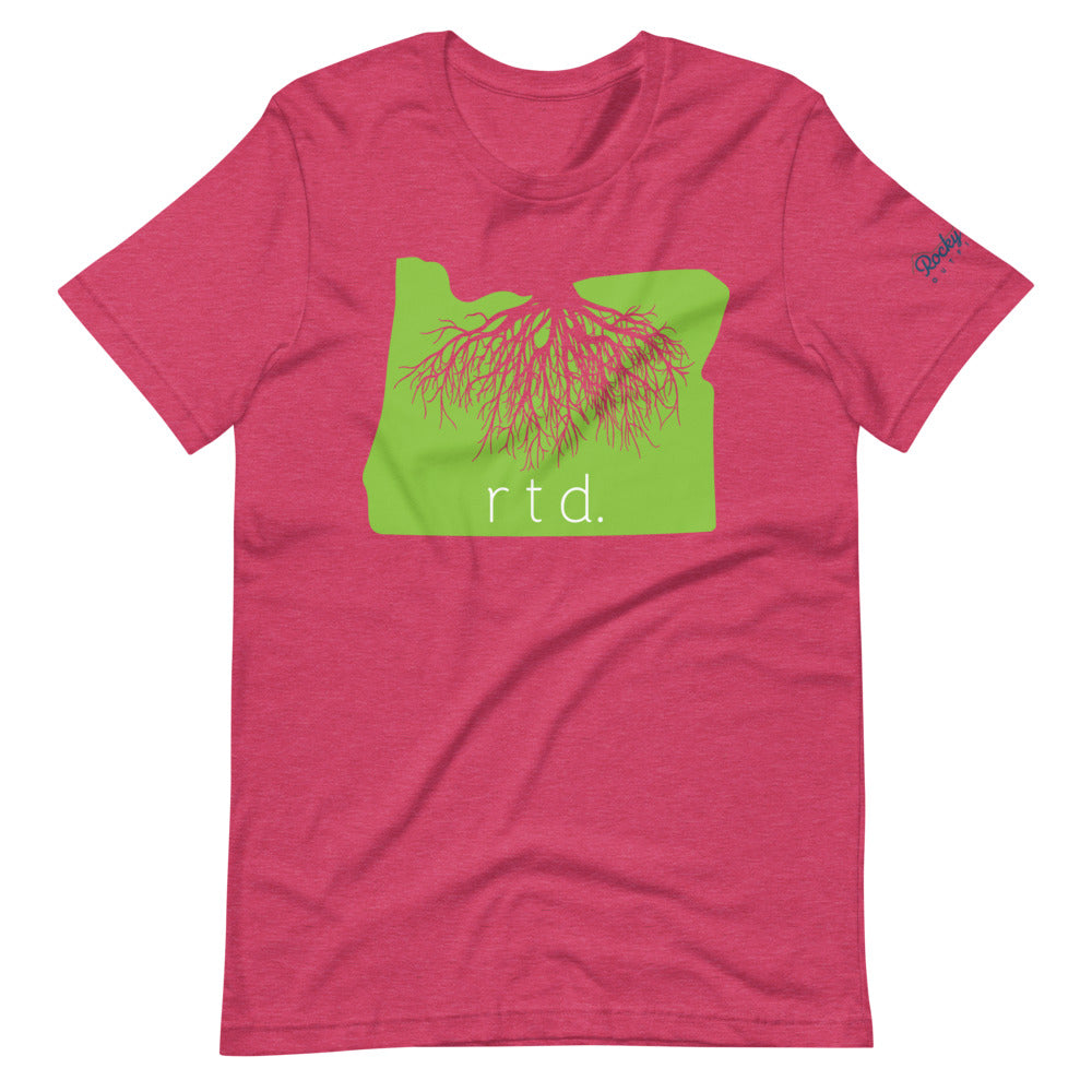 Rooted Oregon Unisex T-Shirt, Lime/White Graphic