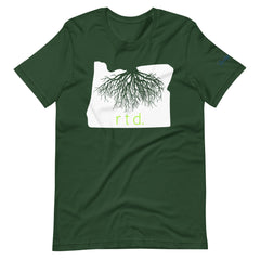 Rooted Oregon Unisex T-Shirt, White/Lime Graphic
