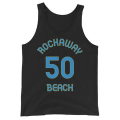 Tank Top with Rockaway Beach and 50 printed on the front