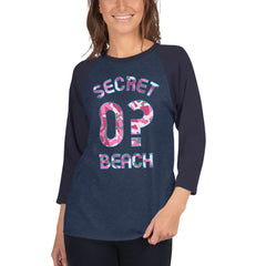 Woman wearing Baseball Jersey with Secret Beach and 0? printed on front