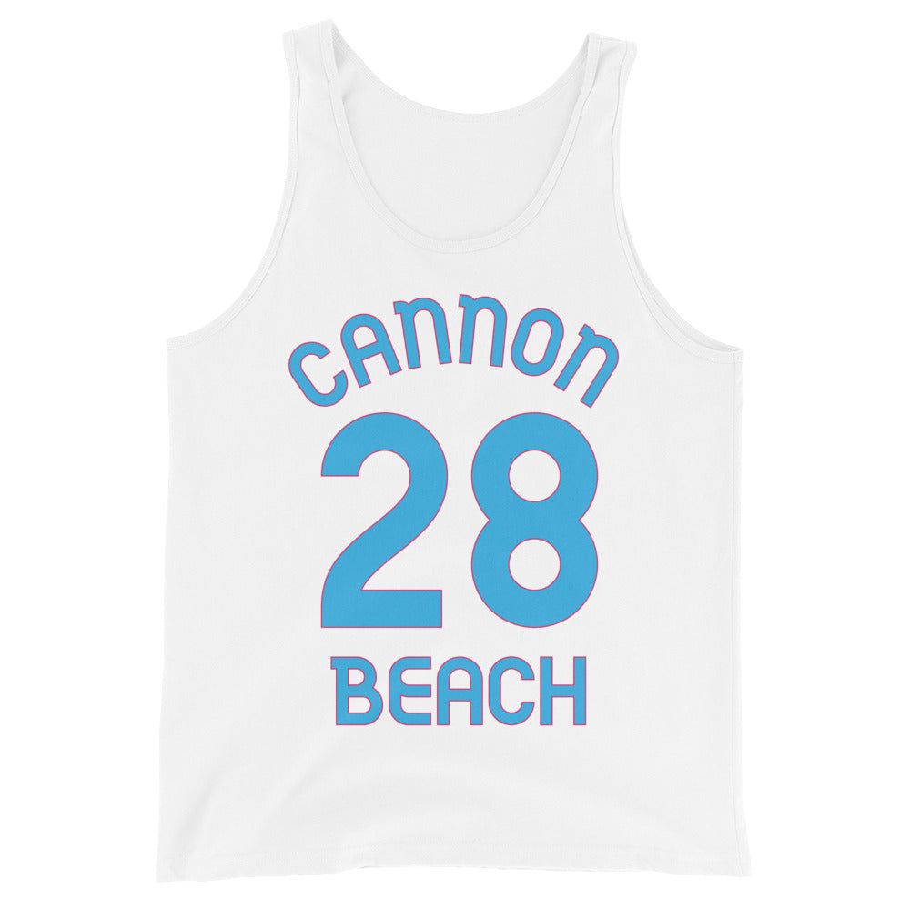 Tank Top with Cannon Beach and 28 printed on the front