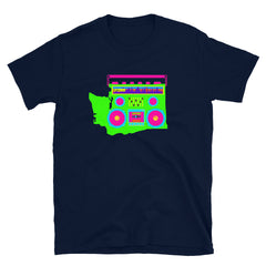 Boom Box Washington Neon Graphic, Short-Sleeve Unisex T-Shirt