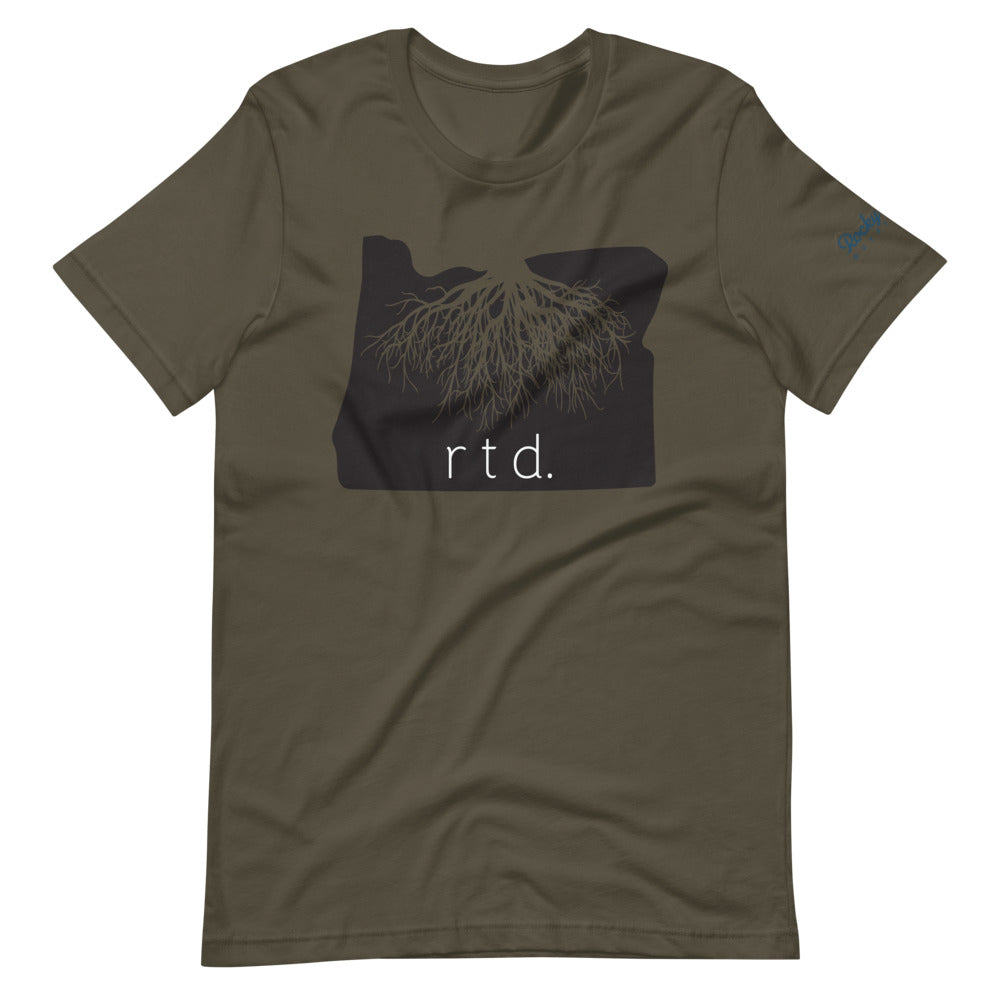 Rooted Oregon Unisex T-Shirt, Black/White Graphic