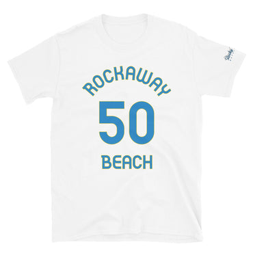 Rockaway Beach, OR - Milepost Jersey, Short-Sleeve Unisex T-Shirt