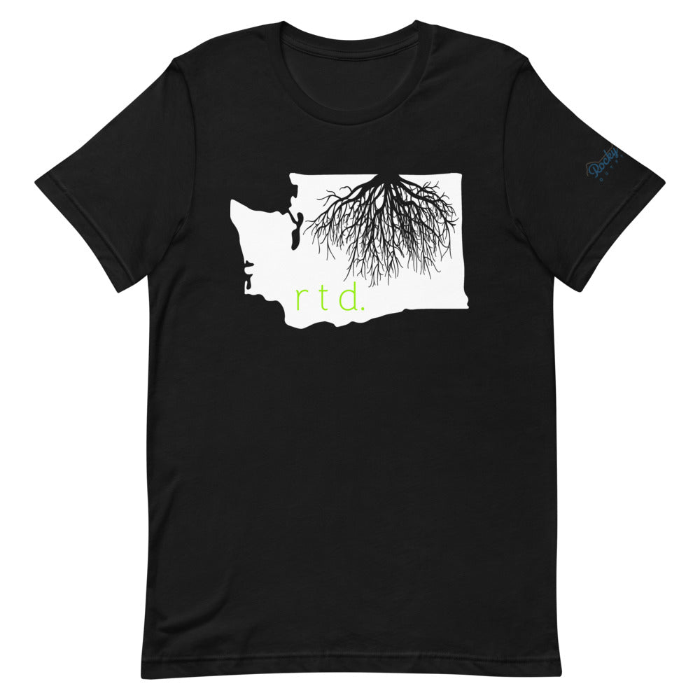 Rooted Washington Unisex T-Shirt, White/Lime Graphic
