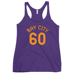 Bay City, Oregon Women's Racerback Tank - Milepost Jersey, Orange Letters
