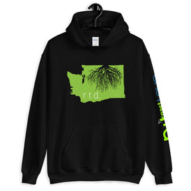 Rooted Washington Unisex Hoodie, Lime-White Graphic