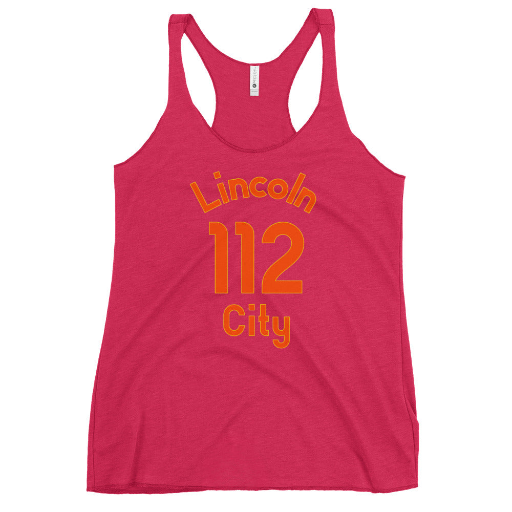 Lincoln City, Oregon Women's Racerback Tank - Milepost Jersey, Orange Letters