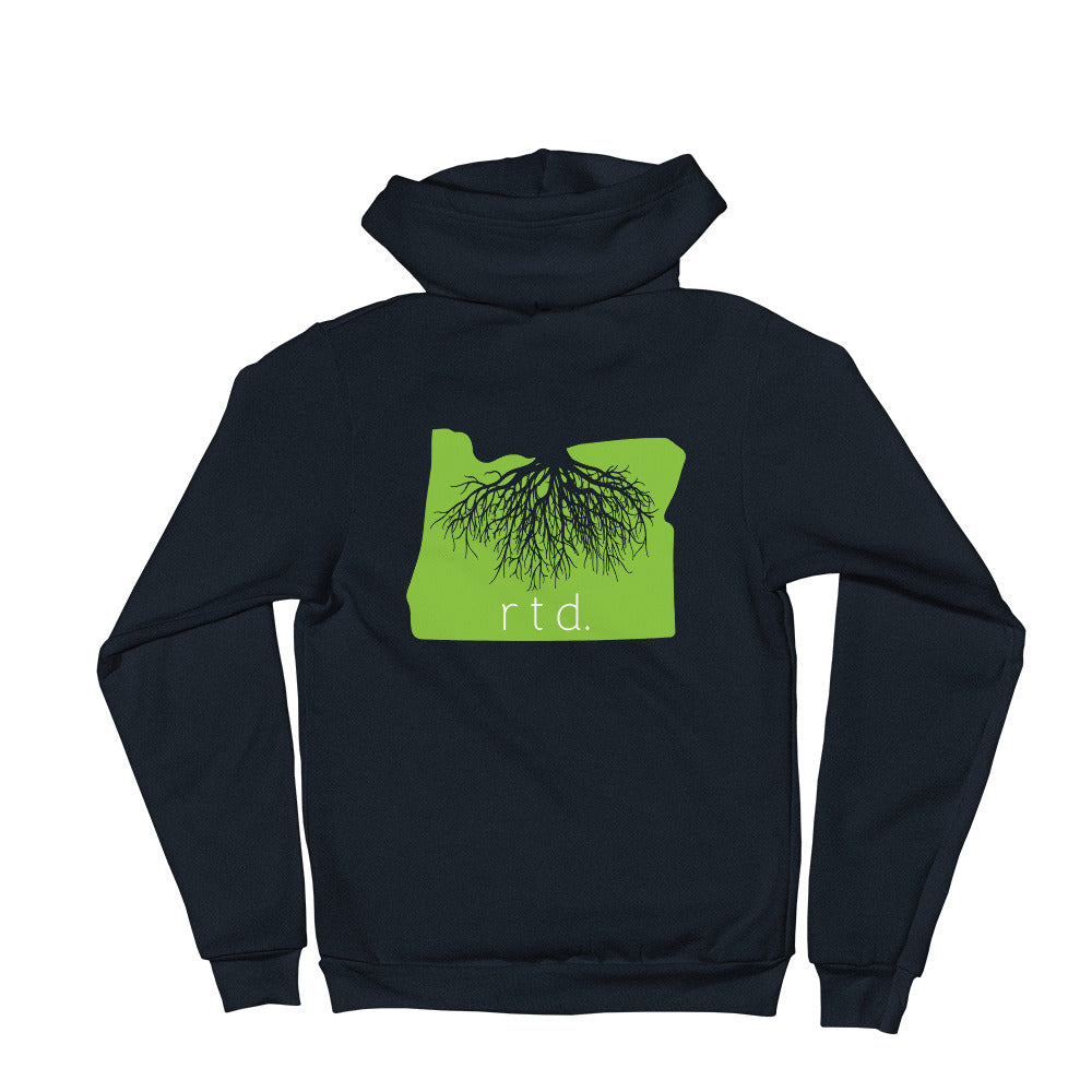 Rooted Oregon Zip Up Unisex Hoodie, Lime/White Graphic