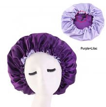 Load image into Gallery viewer, Purple + Lilac Adjustable Satin Bonnet