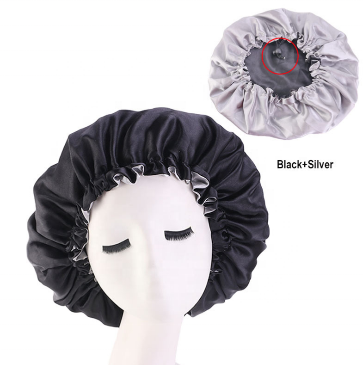 Black + Silver Adjustable Satin Bonnet