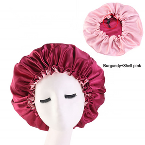 Burgundy + Shell Pink Adjustable Satin Bonnet