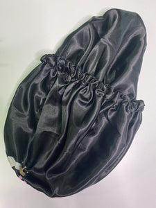 Doubled-sided Black Satin Bonnet (large)