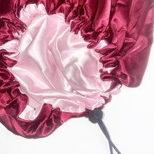 Load image into Gallery viewer, Burgundy + Shell Pink Adjustable Satin Bonnet
