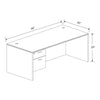 30x66 Kai Desk w/ Single Suspended Pedestal Greenguard Gold Certified