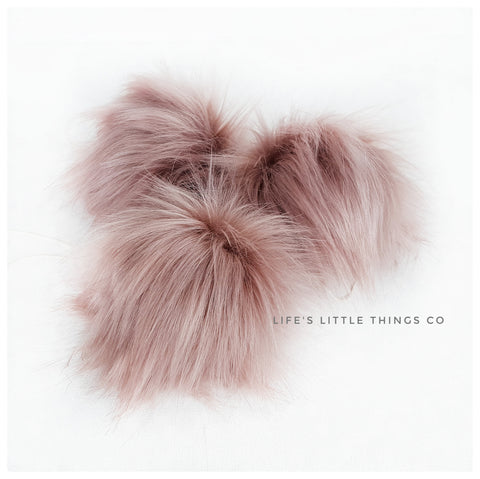 "Dusty pink mauve Deep blush in center to medium blush at ends Long length fur (approximately 3"") Very full pom Luxurious and amazingly soft feel"