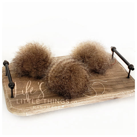 "Chestnut Pom *Tan throughout with dark brown striping *Medium length fur (approximately 1.5-2"") *Full look and soft feel"