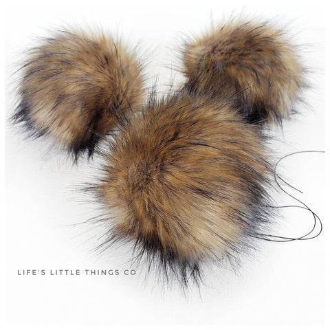 "Kodiak Pom *Tan center moving to brown and black tips *Short length fur (approximately 1.5"" - 2"") *Full and soft feel"