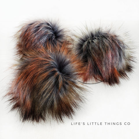 "Spiced Pom *Deep charcoal in center to light grey. Tips are burnt orange with some hunter green *Long length fur (approximately 3"") *Luxurious and amazingly soft feel"
