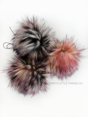 "Rebel Pom *Speckled black, pink, cream, white throughout.  No two poms are alike! *Long length fur (approximately 2.5"") *Luxurious and amazingly soft feel"