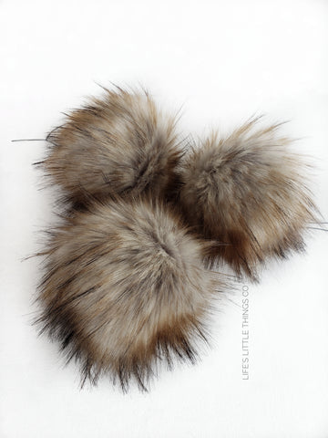"Fossil Pom *Light grey center to brown ends and black tips *Long length fur (approximately 2.5"") *Very full pom *Luxurious and amazingly soft feel"