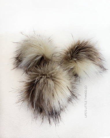 "Luna Pom *Variation of cream (off white) and taupe with tufts of brown tips.  ALL POMS are UNIQUE *Medium length fur (approximately 2"" - 3"") *Luxurious and amazingly soft feel"