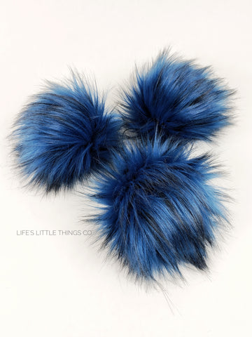 "Sapphire Pom Blue with black tufts throughout Medium length fur (approximately 2.5"") Full and soft feel"