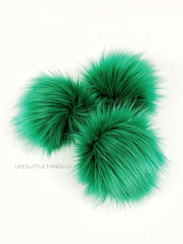 "Shamrock Pom Green, medium length fur pile Medium length fur (approximately 2"") Full look and soft feel"