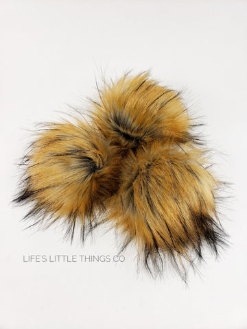 "Fire Fox Pom Gray center to a golden/orange end with black tips. Medium length fur (approximately 1.5"" - 3"") Luxurious and amazingly soft feel"