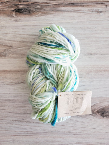 Serpentina Amelia.  Handspun from handpainted merino tops, Serpentina is a truly artisanal product. Each skein is unique, and the colors are totally random