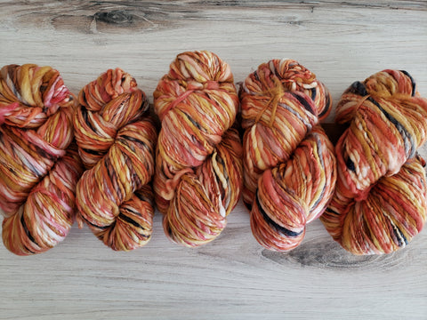 Serpentina Hilma.  Handspun from handpainted merino tops, Serpentina is a truly artisanal product. Each skein is unique, and the colors are totally random