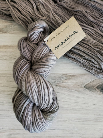 Maxima Shale. Super-soft merino fiber and a light single-ply construction make Maxima a cuddly yarn.