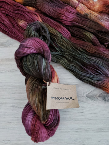 Maxima Fruits of the Forest. Super-soft merino fiber and a light single-ply construction make Maxima a cuddly yarn.