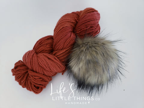 Take the guessing game out of yarn and pom matching from your device.  Bundles have a coordinating pom and yarn already picked out for you.  You are now ready to knit or crochet up a beanie!  No more trying to match yarns and poms!  The skein in the picture is the skein you will get!