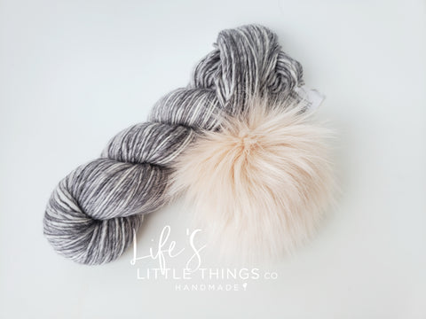 Take the guessing game out of yarn and pom matching from your device.  Bundles have a coordinating pom and yarn already picked out for you.  You are now ready to knit or crochet up a beanie!  No more trying to match yarns and poms!