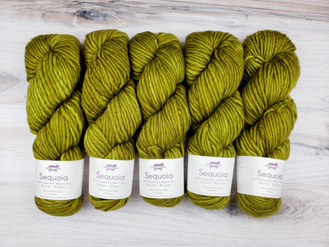 Sequoia makes luscious knits in superwash merino.  Super-soft, super-warm, super-quick.  This yarn is comparable to the single ply 76yd skeins.