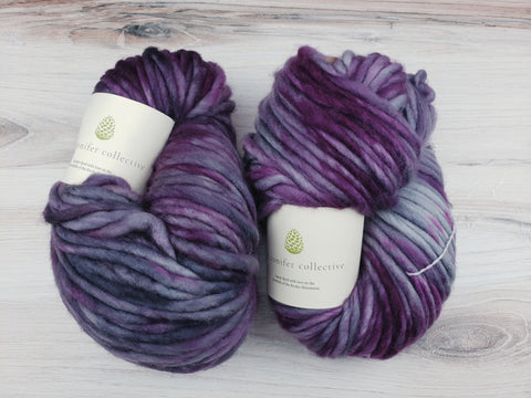 Super-soft, super-warm, super-quick: This super bulky Indie Dyed yarn makes luscious knits in superwash merino.  This is a single ply yarn that is hand-dyed in small batches in COLORADO from The Conifer Collective.