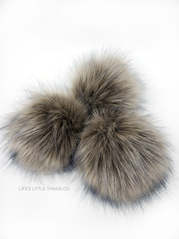 A fun, modern touch to your knitwear.  Make a STATEMENT with a faux fur poof.  Each pom is handmade with high quality faux fur (vegan). Price is for 1 Mushroom Faux Fur Pom Pom