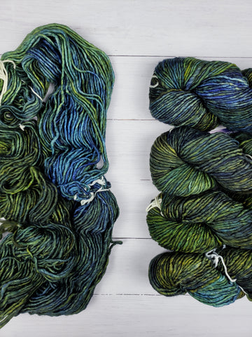 Thick and lofty superwash Merino is soft as ever and alive with vivid, multi-layered hues enough to lighten any room.  The perfect size for quick but not too heavy projects.  This is a single ply yarn.