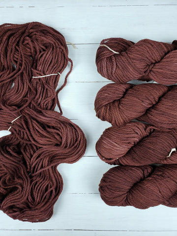 3-Ply, Chunky is big-boned, and weighty.  It has a luscious smooth texture and fat squishiness, in kettle-dyed semi-solid colors or variegated colorways.  A favorite for quick knits, bulky cables or textured stitches